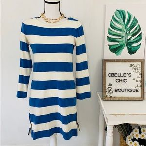 J. Crew Maritime Blue & White Striped Cotton Dress